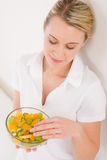 Healthy lifestyle - woman holding fruit salad Royalty Free Stock Photo