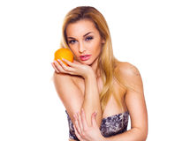 Healthy Lifestyle Woman holds orange. Stock Images