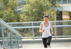 Healthy lifestyle woman running at city Royalty Free Stock Images