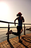 Healthy lifestyle woman running seaside Stock Images