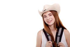 Healthy lifestyle woman smiling when she goes to hiking holiday Royalty Free Stock Image