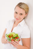 Healthy lifestyle - woman with vegetable salad Royalty Free Stock Images