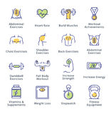 Healthy Lifestyle - Workout Icons - Outline Series. This set contains workout icons that can be used for designing and developing websites, as well as printed Royalty Free Stock Photo