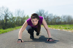 Healthy lifestyle a young woman runner . Royalty Free Stock Photography
