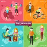 Healthy lifestyles daily routine. Types of activity. High, normal, low and average active. Healthy lifestyles daily routine tips stick figure in flat design Royalty Free Stock Photos