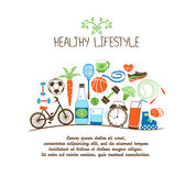 Healthy lifestyles. Vector concept. Proper nutrition and sports equipment on white background Royalty Free Stock Image
