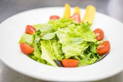 Healthy, light salad with fruits stock photos