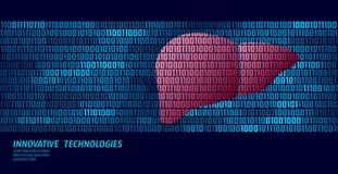 Healthy liver detoxification internal organs. Binary code data flow. Doctor online innovative technology vector. Illustration art royalty free illustration