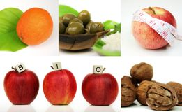 Healthy living. A compostion of five images, orange, olives, apple and nuts - bio food - health-care Royalty Free Stock Images