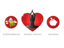 Healthy living advice symbols. Stress handling, physical activit Royalty Free Stock Photo
