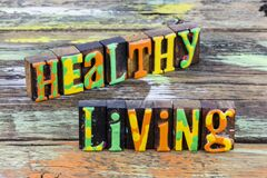 Healthy living fitness exercise health lifestyle letterpress