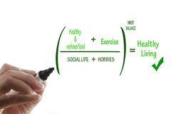 Healthy living. Formula that describes elements for healthy living, various food, exercise, social life and hobbies Royalty Free Stock Images