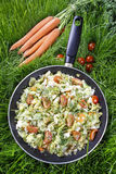 Healthy living - fried cabbage in frying pan on green grass Stock Photo