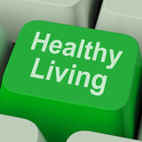 Healthy Living Key Shows Health Diet And Fitness Royalty Free Stock Images