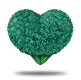 Healthy Living- nutrition & exercising. Healthy Living nutrition & exercising symbol with a fresh organic green raw broccoli vegetable in the shape of a heart vector illustration