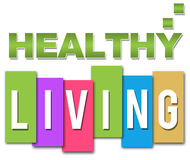 Healthy Living Professional Colourful. Healthy text in green with lifestyle text on colourful background stock illustration