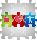 Healthy living puzzle concept. Healthy food and fitness leads to Stock Images
