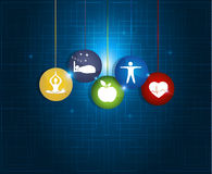 Healthy living round symbols Stock Images