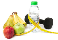 Healthy living with sport and fruits Royalty Free Stock Images