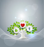 Healthy living symbol. Healthy diet and fitness leads to healthy heart vector illustration