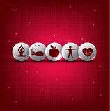 Healthy living symbols stock illustration
