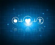 Healthy living symbols on a technology background stock illustration