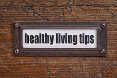 Healthy living tips - file cabinet label Royalty Free Stock Photo