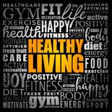 Healthy Living word cloud collage stock image