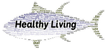 Healthy living word cloud shape Stock Images