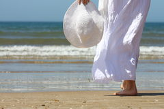 Healthy Living - Young Women. Women in white on thee beach Stock Photography