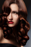 Healthy Long Curly Hair. Stock Photo