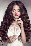 Healthy long hair. Girl makeup. Beautiful Brunette. Red Lips. Pe Royalty Free Stock Images
