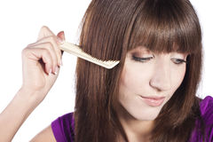 Healthy long straight female hair Stock Photos