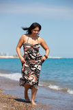 Healthy Looking Plus Size Model Walking Stock Image
