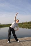 Healthy Looking Young Woman Morning Stretch Royalty Free Stock Photos