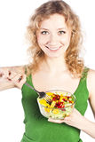 Healthy lovely woman, with salad. Woman with salad isolated on white Stock Photos