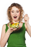 Healthy lovely woman, with salad Royalty Free Stock Photography