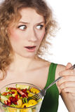 Healthy lovely woman, with salad. Woman with salad isolated on white Royalty Free Stock Photos