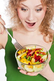 Healthy lovely woman, with salad Royalty Free Stock Images