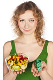 Healthy lovely woman, with salad Stock Photography