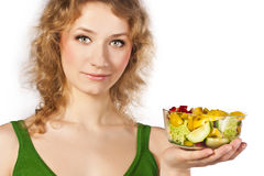 Healthy lovely woman, with salad. Woman with salad isolated on white Royalty Free Stock Photo