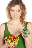 Healthy lovely woman, with salad Royalty Free Stock Photo