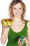 Healthy lovely woman, with salad. Woman with salad isolated on white Royalty Free Stock Images
