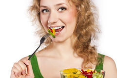 Healthy lovely woman, with salad. Woman with salad isolated on white Stock Image