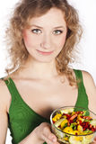 Healthy lovely woman, with salad. Woman with salad isolated on white Stock Photo