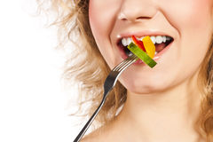 Healthy lovely woman, with salad. Woman with salad isolated on white Stock Photography