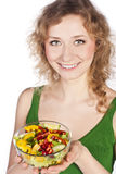 Healthy lovely woman, with salad Stock Images