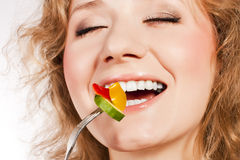 Healthy lovely woman, with salad. Woman with salad  on white Stock Image