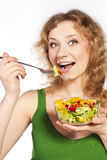 Healthy lovely woman, with salad. Woman with salad  on white Royalty Free Stock Image