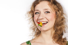 Healthy lovely woman, with salad. Woman with salad isolated on white Royalty Free Stock Image